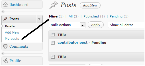 Adding My posts sub menu for posts section in wordpress